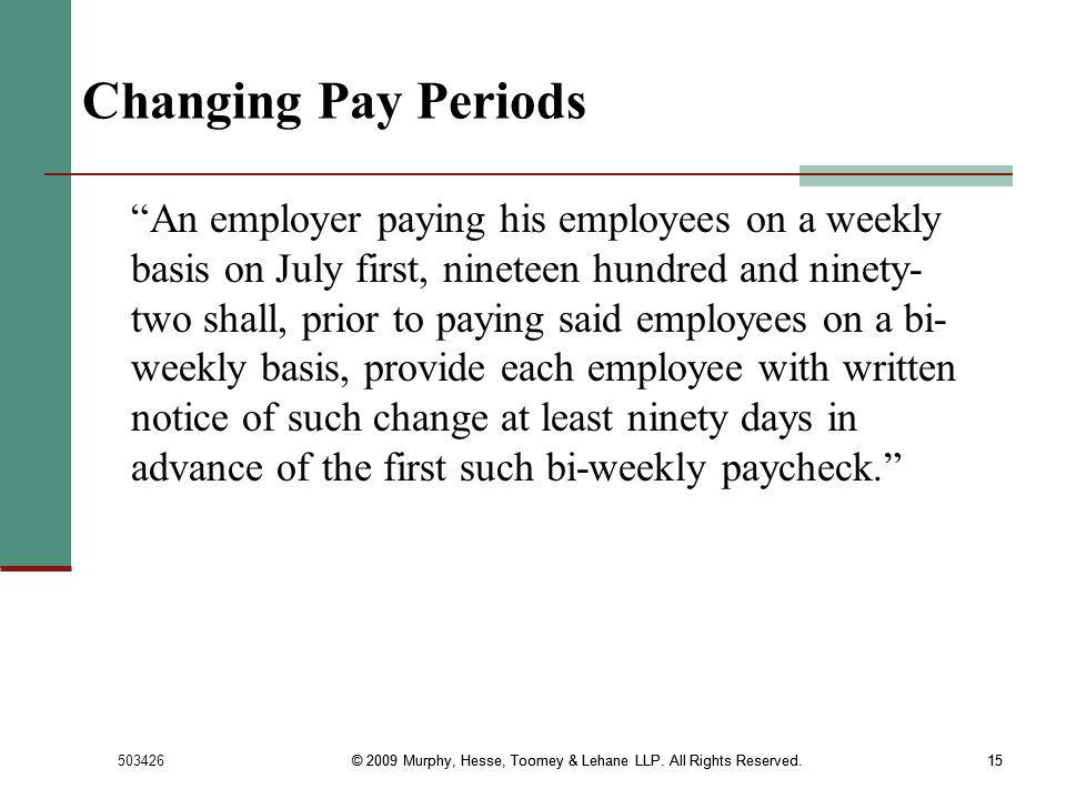 Changing Pay Periods