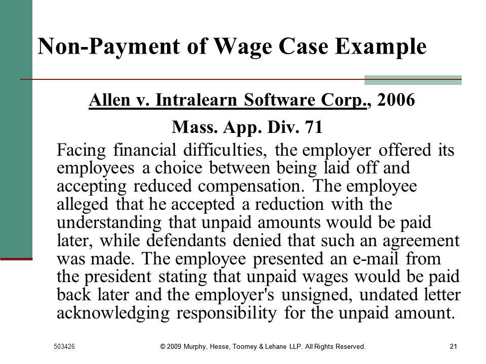 Non-Payment of Wage Case Example