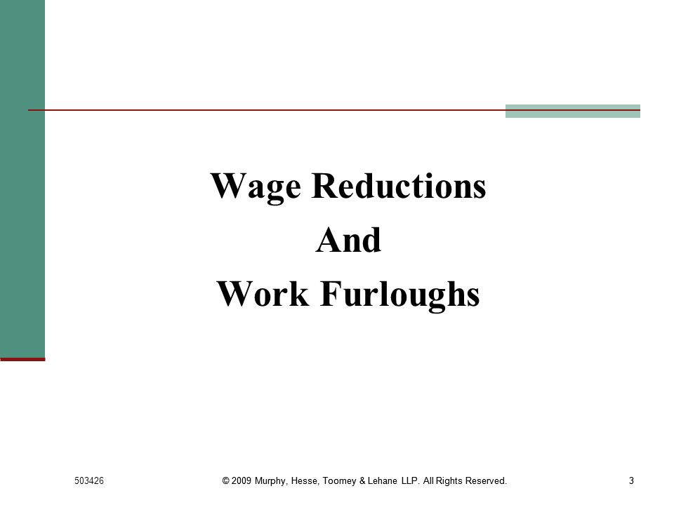 Wage Reductions And Work Furloughs