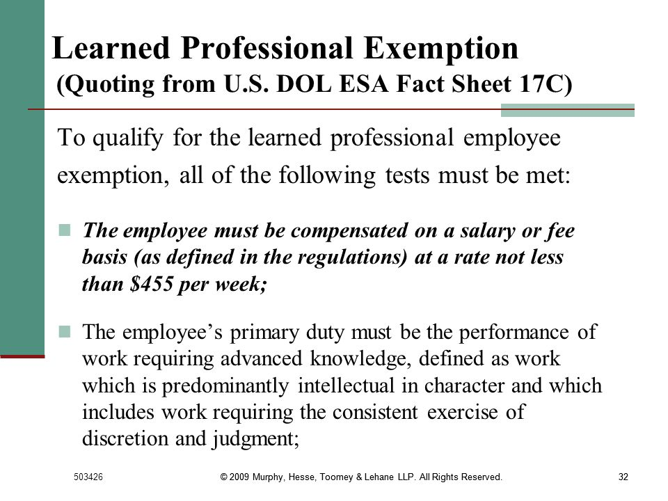 Learned Professional Exemption (Quoting from U. S