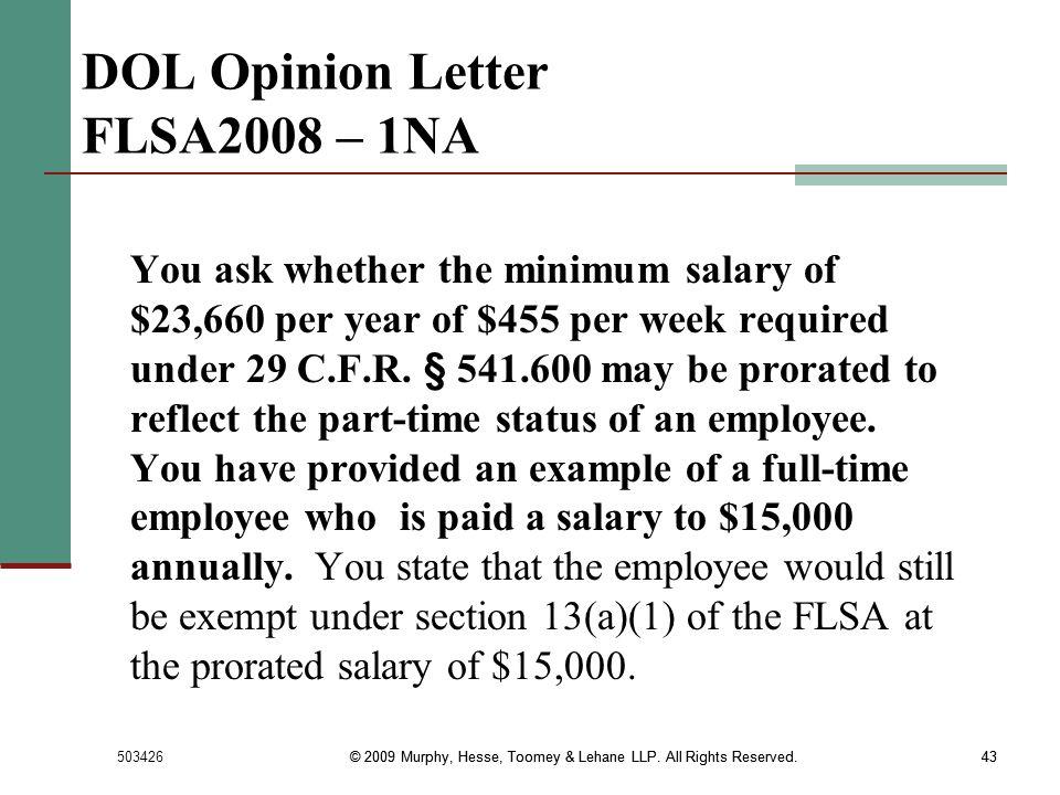 DOL Opinion Letter FLSA2008 – 1NA