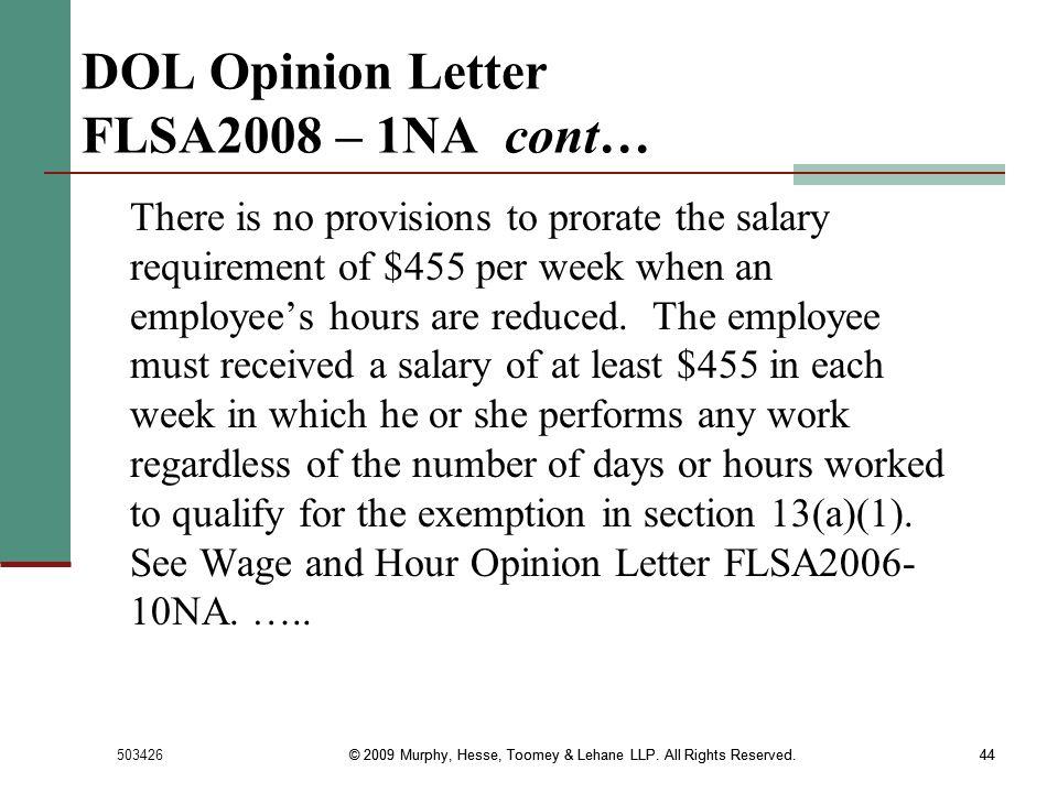 DOL Opinion Letter FLSA2008 – 1NA cont…