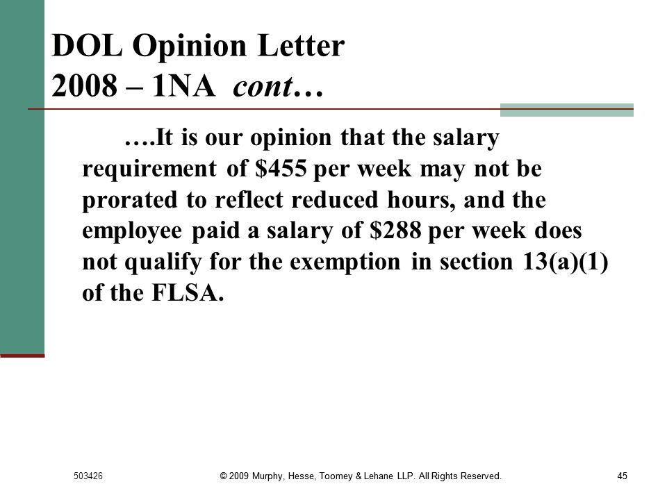 DOL Opinion Letter 2008 – 1NA cont…