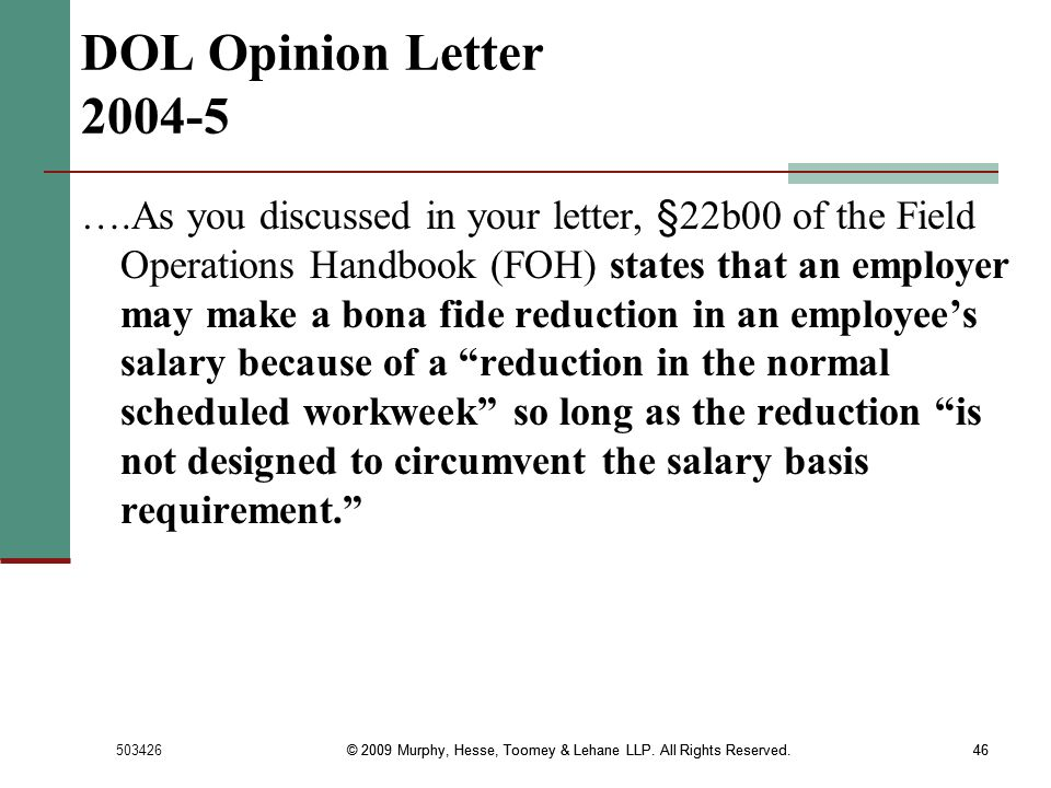 DOL Opinion Letter