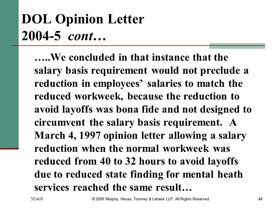 DOL Opinion Letter 2004-5 cont…
