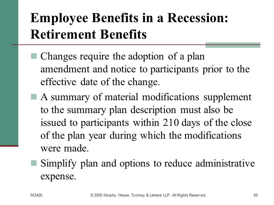 Employee Benefits in a Recession: Retirement Benefits