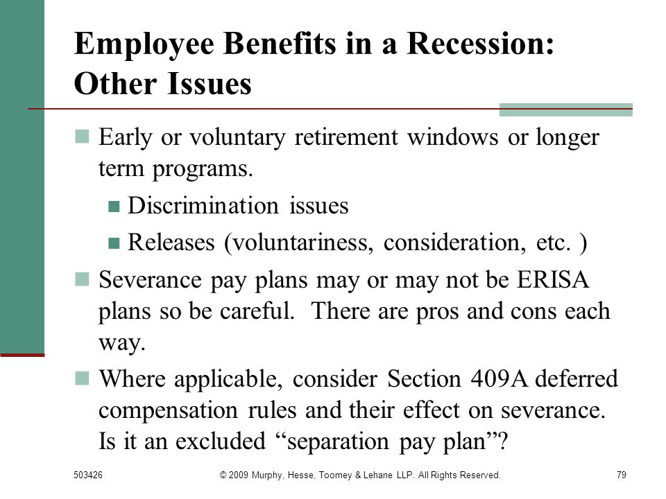 Employee Benefits in a Recession: Other Issues