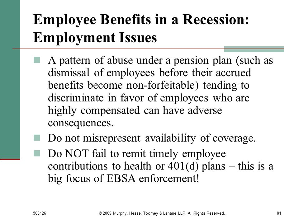 Employee Benefits in a Recession: Employment Issues