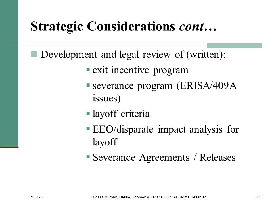 Strategic Considerations cont…