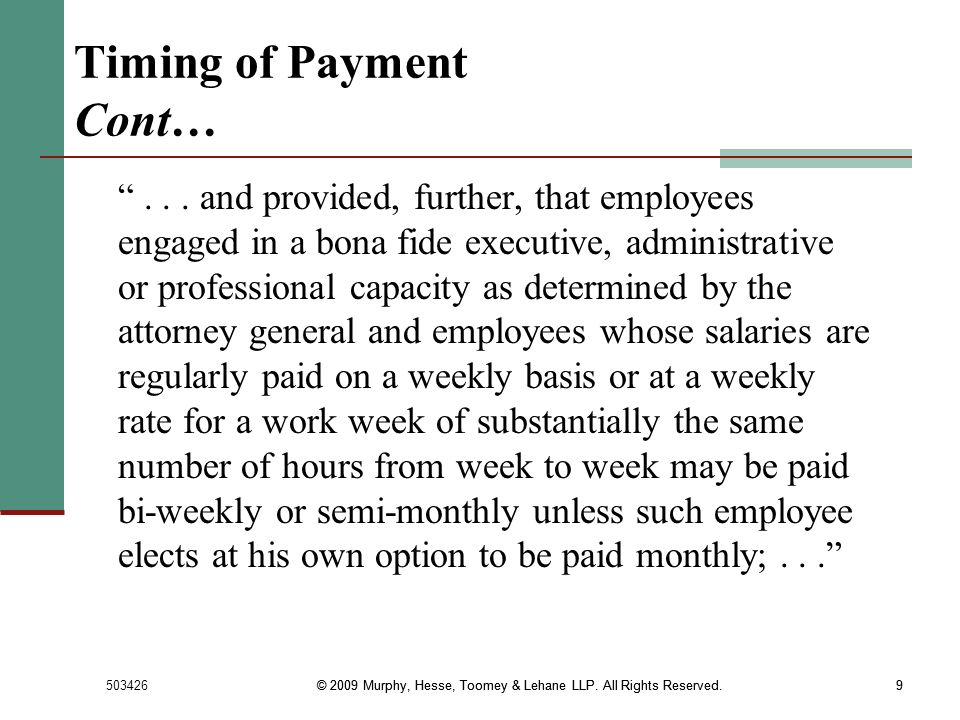 Timing of Payment Cont…