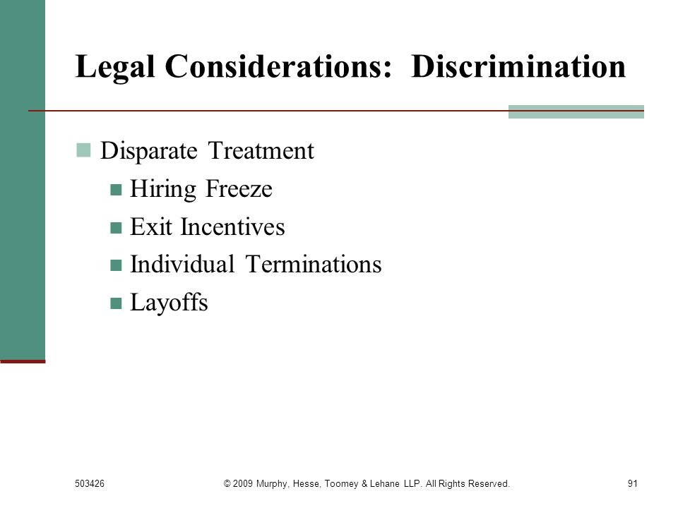 Legal Considerations: Discrimination