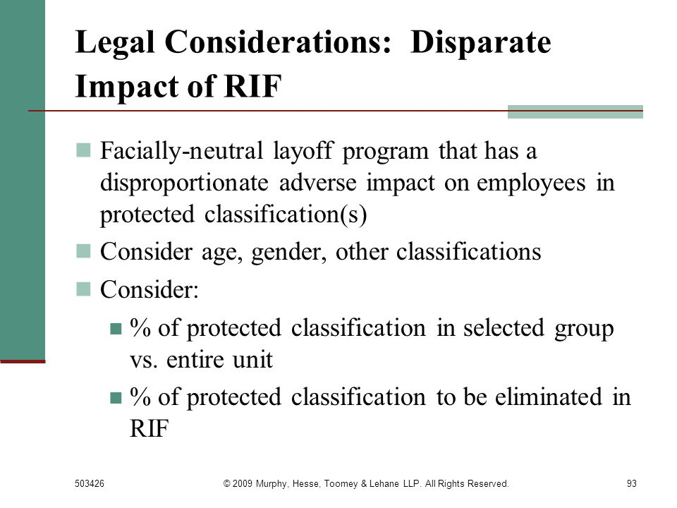 Legal Considerations: Disparate Impact of RIF