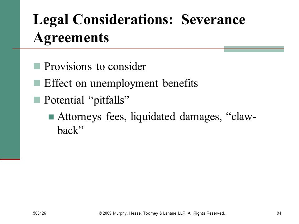 Legal Considerations: Severance Agreements