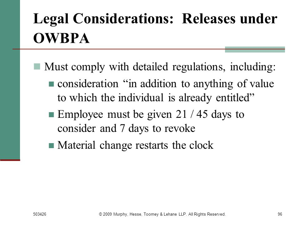 Legal Considerations: Releases under OWBPA