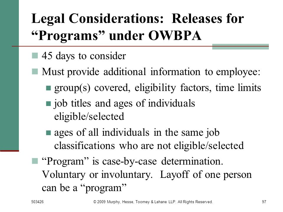 Legal Considerations: Releases for Programs under OWBPA