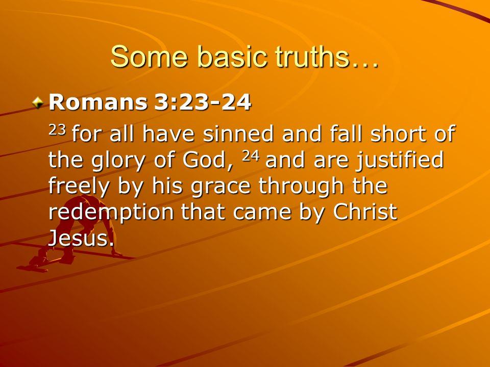 Some basic truths… Romans 3:23-24