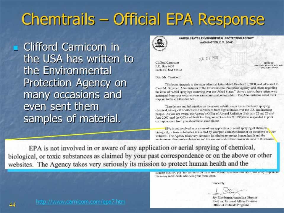 Chemtrails – Official EPA Response