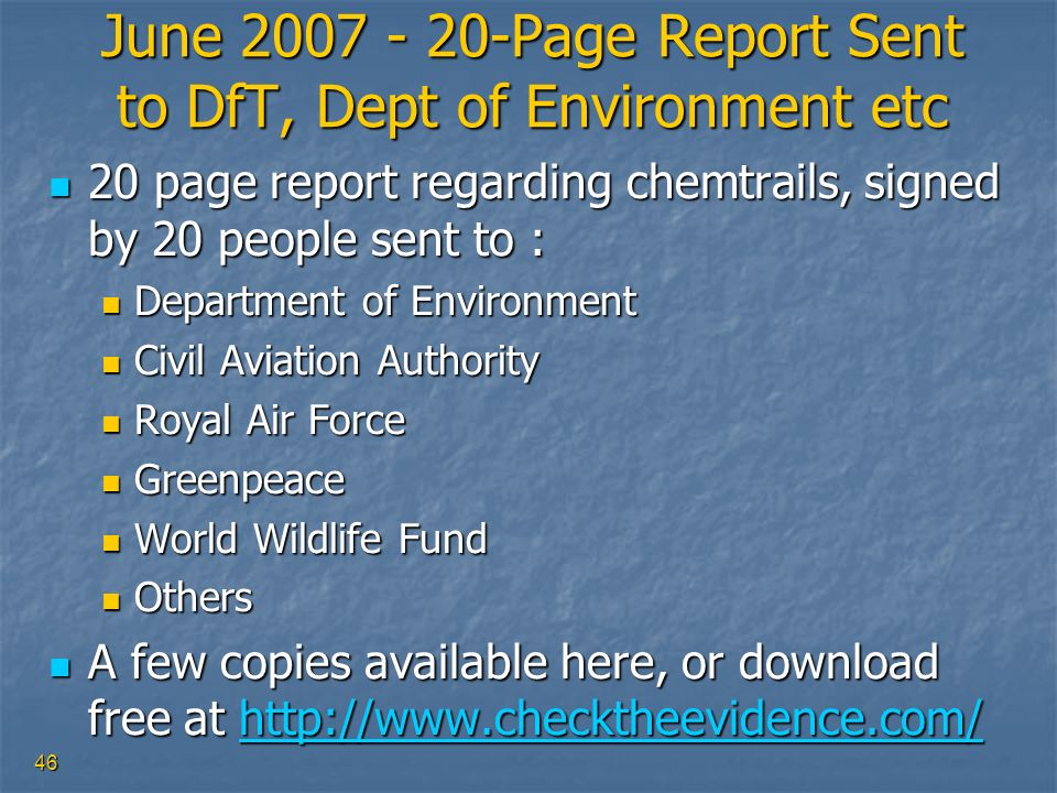 June 2007 - 20-Page Report Sent to DfT, Dept of Environment etc