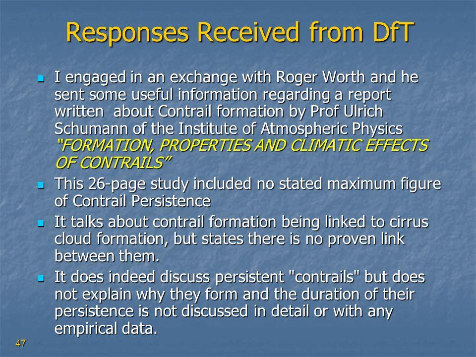 Responses Received from DfT