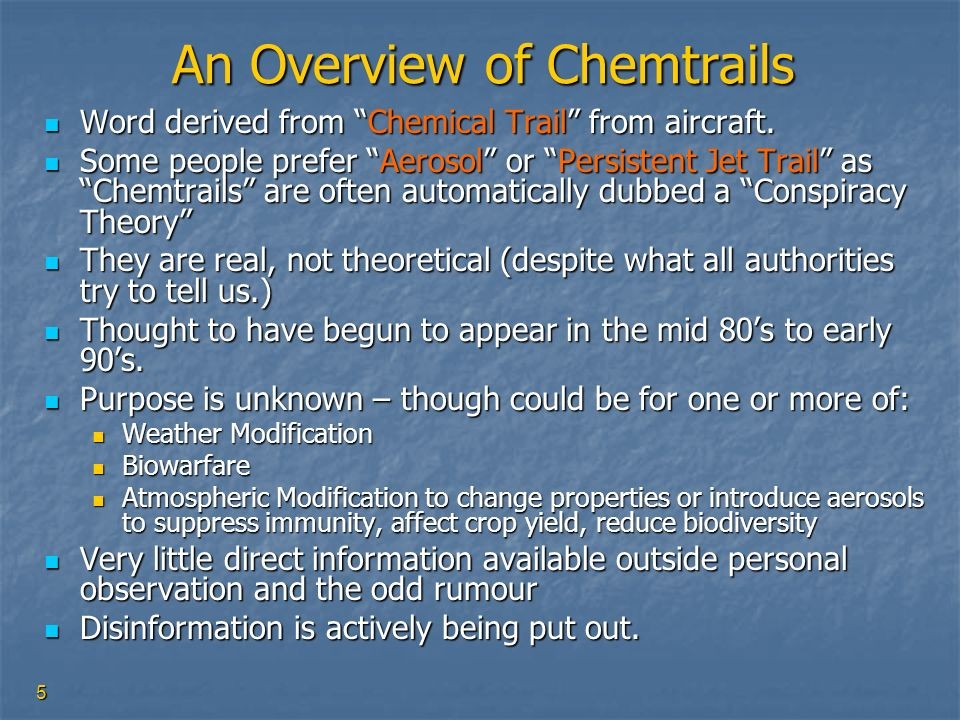 An Overview of Chemtrails