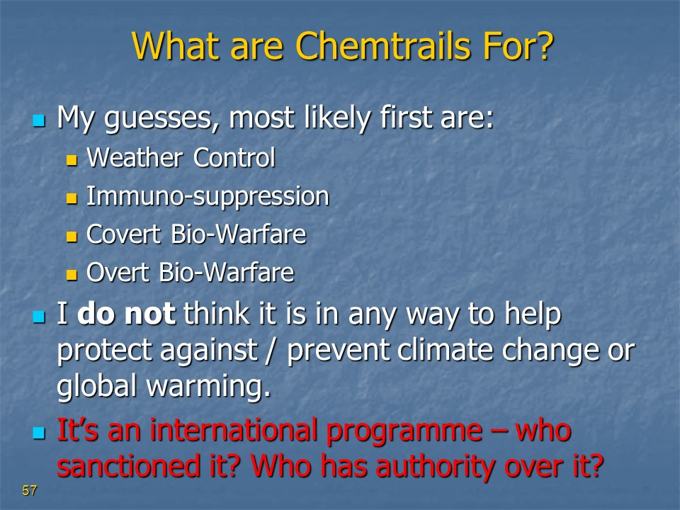 What are Chemtrails For