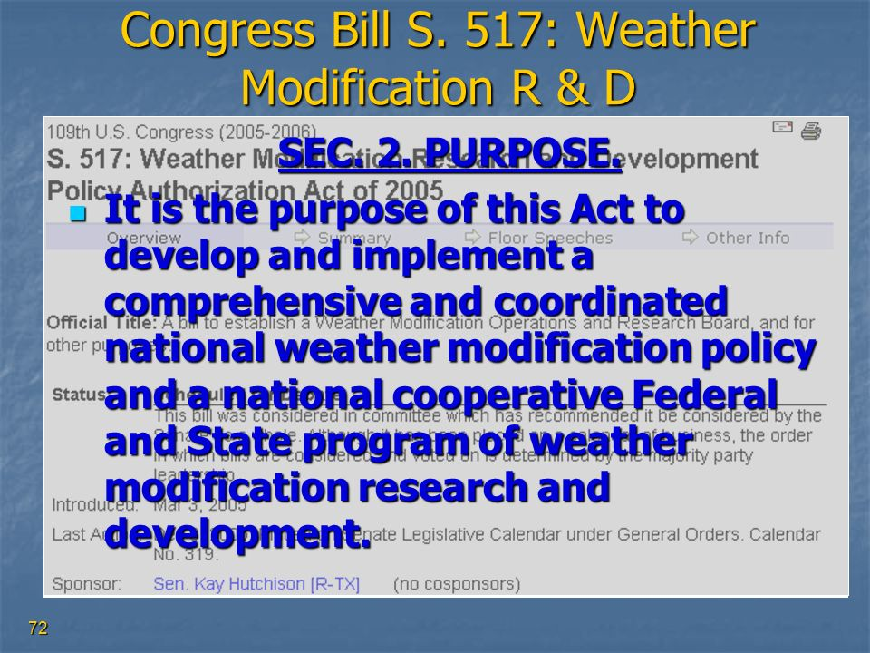 Congress Bill S. 517: Weather Modification R & D