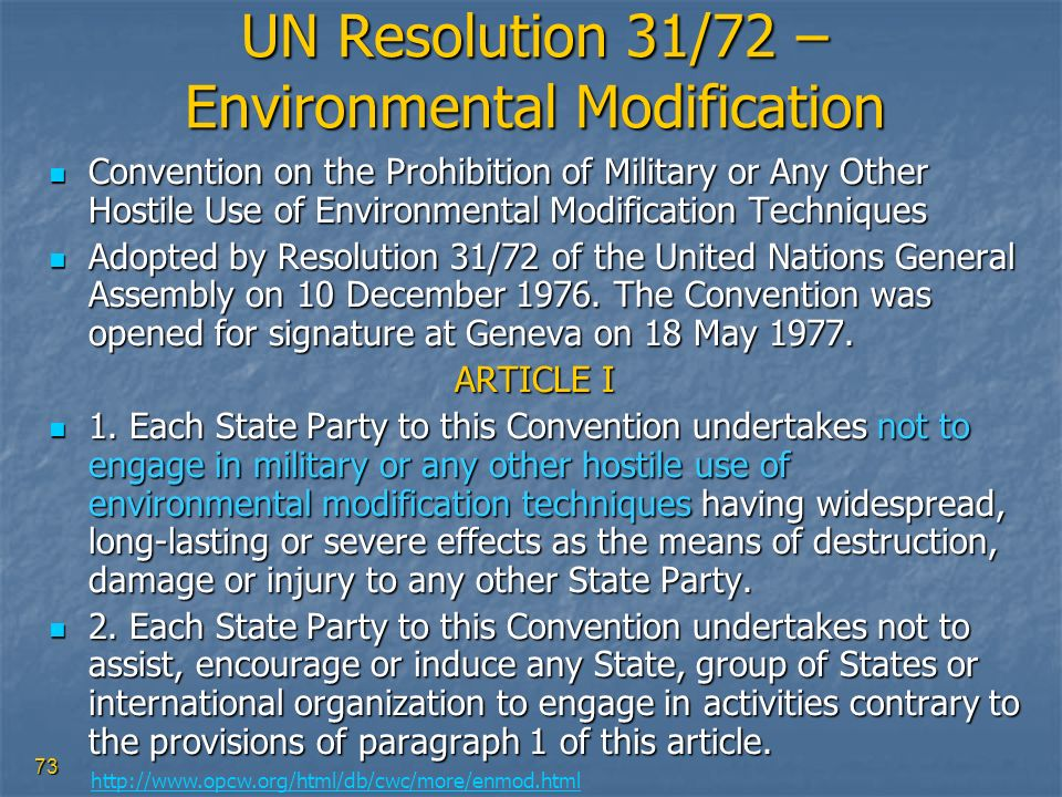 UN Resolution 31/72 – Environmental Modification