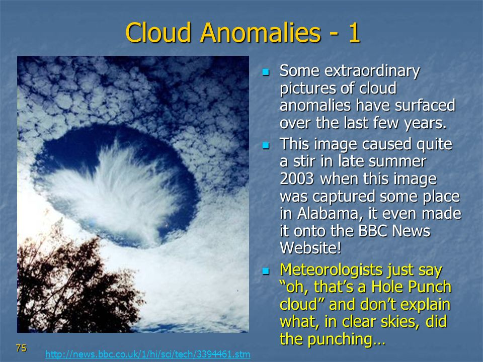 Cloud Anomalies - 1 Some extraordinary pictures of cloud anomalies have surfaced over the last few years.