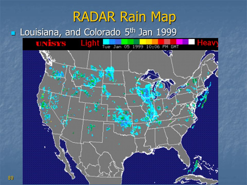RADAR Rain Map Louisiana, and Colorado 5th Jan 1999