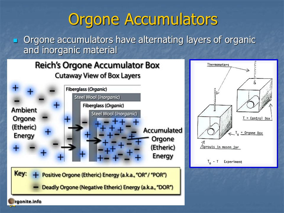 Orgone Accumulators Orgone accumulators have alternating layers of organic and inorganic material