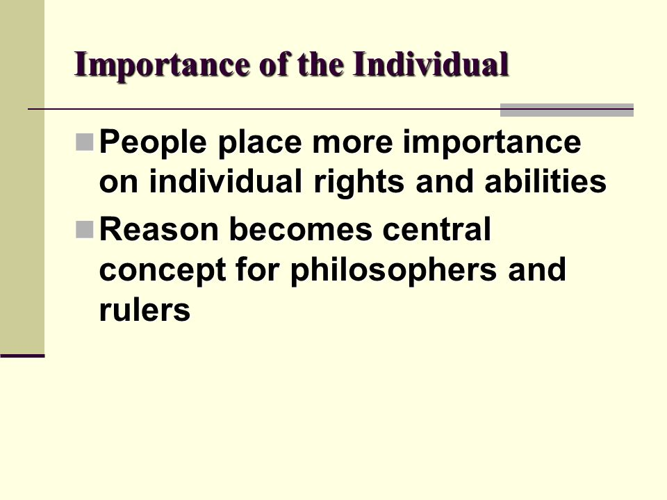 Importance of the Individual