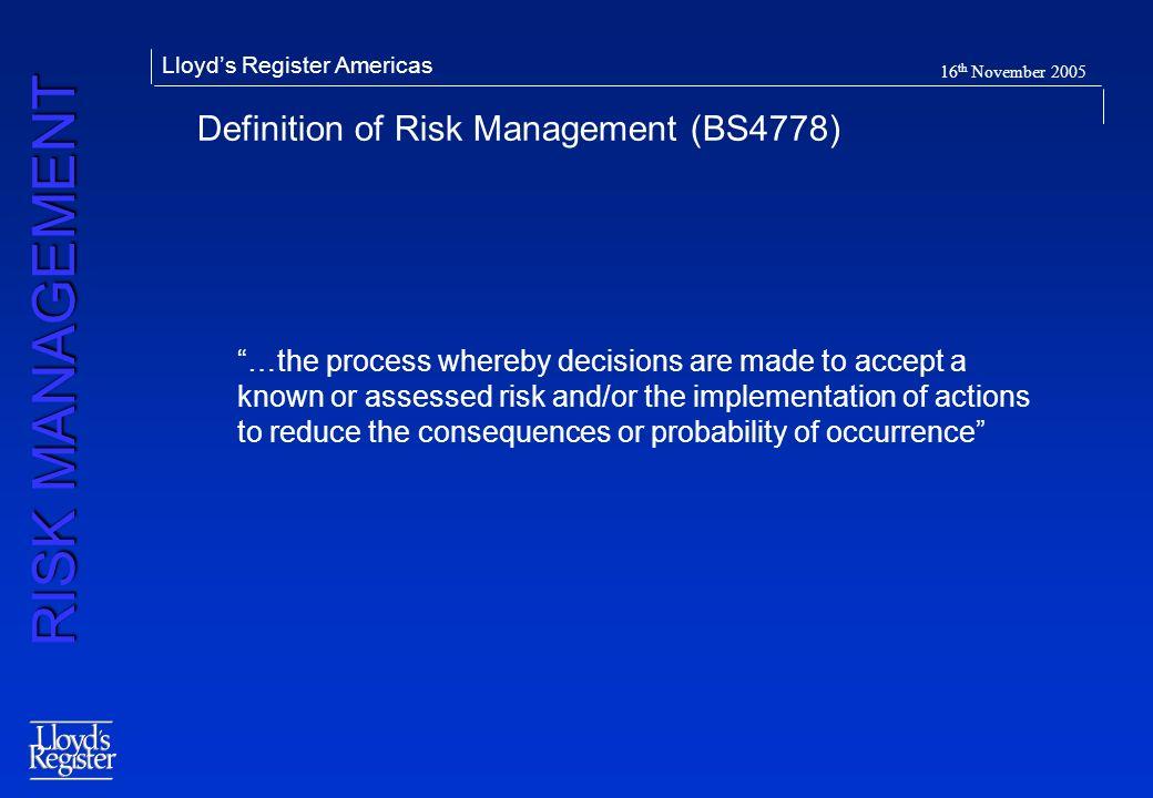 Definition of Risk Management (BS4778)