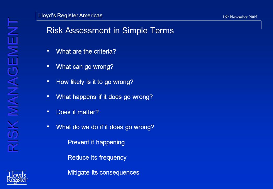 Risk Assessment in Simple Terms