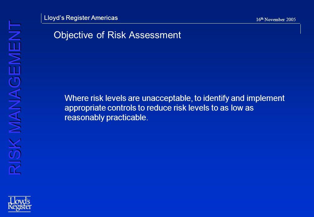 Objective of Risk Assessment