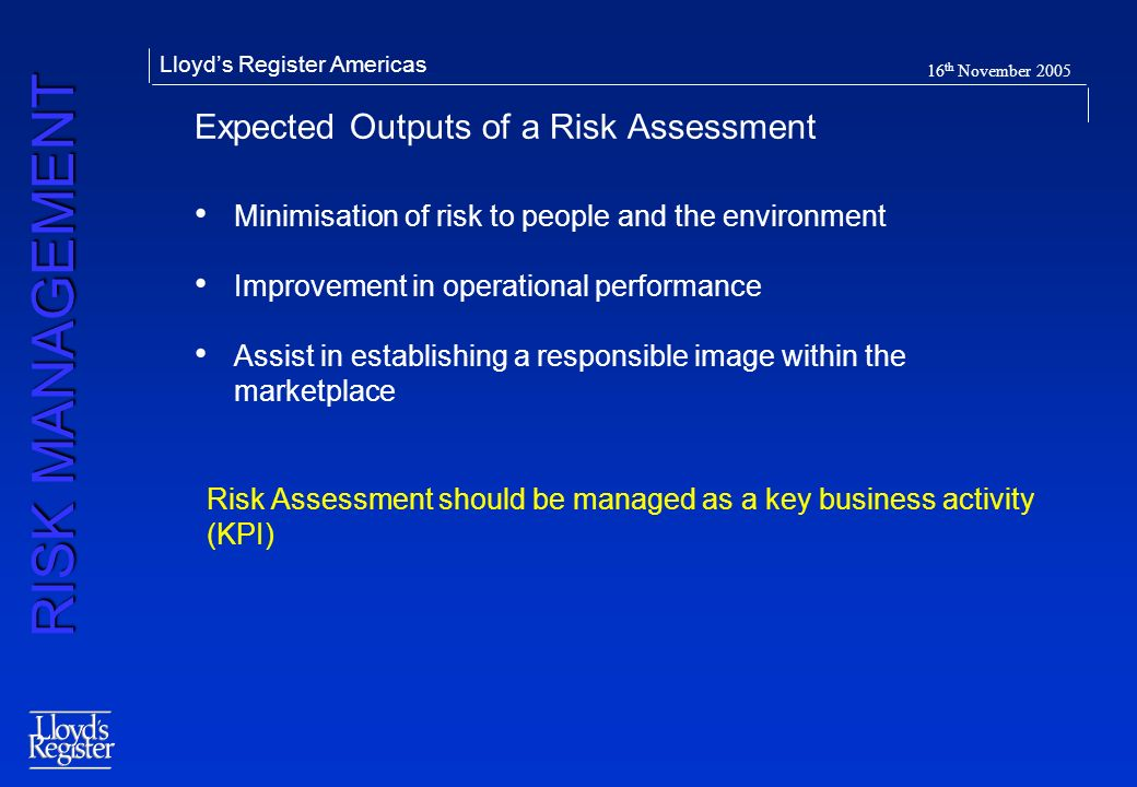 Expected Outputs of a Risk Assessment