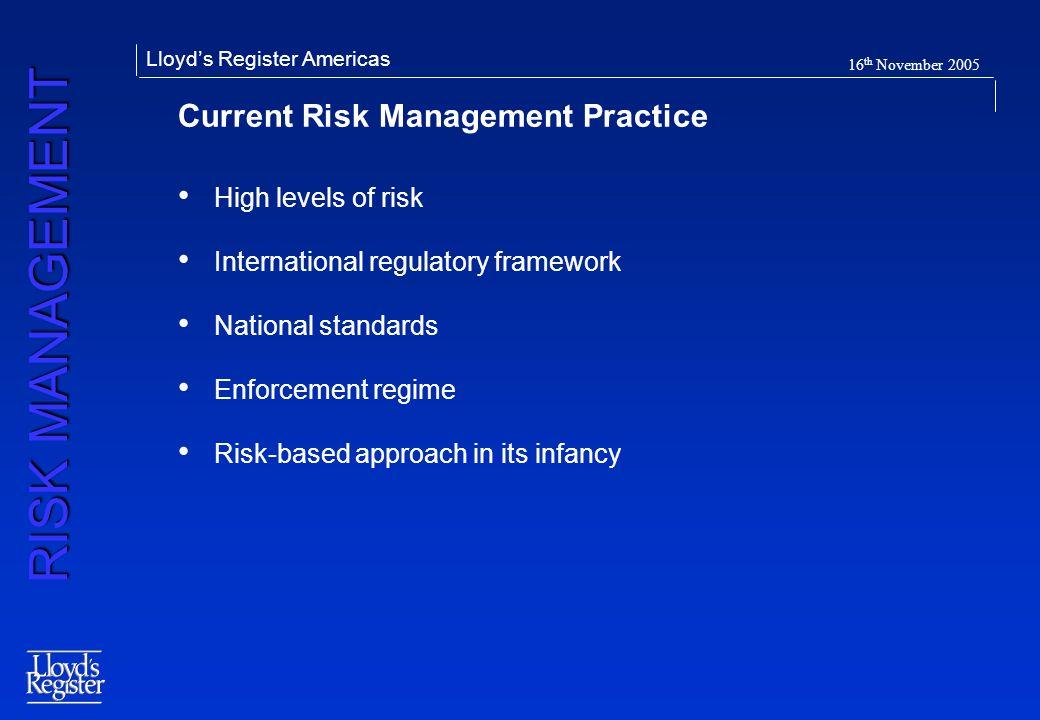 Current Risk Management Practice