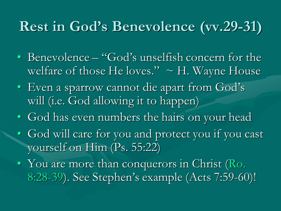 Rest in God's Benevolence (vv.29-31)