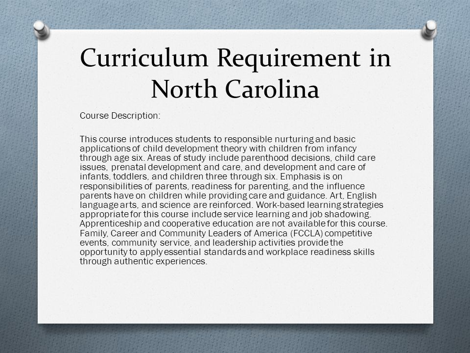 Curriculum Requirement in North Carolina
