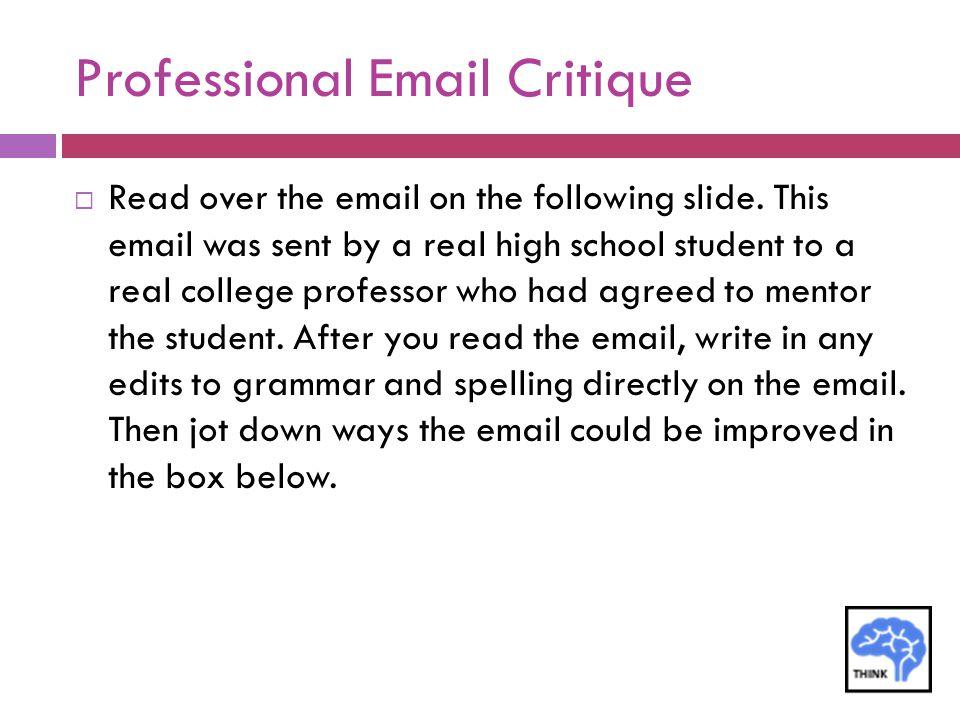 Professional Email Critique