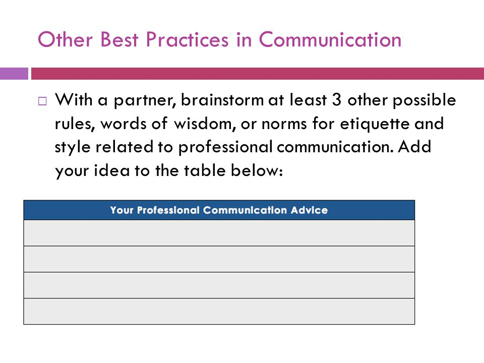 Other Best Practices in Communication