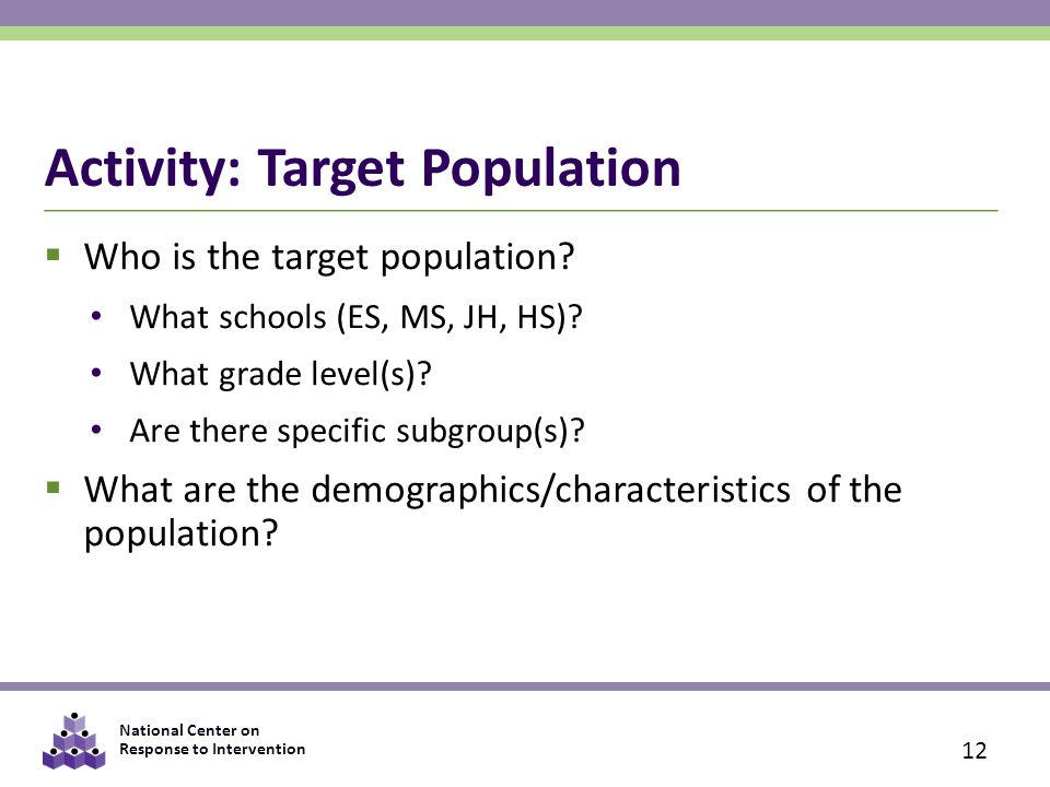 Activity: Target Population