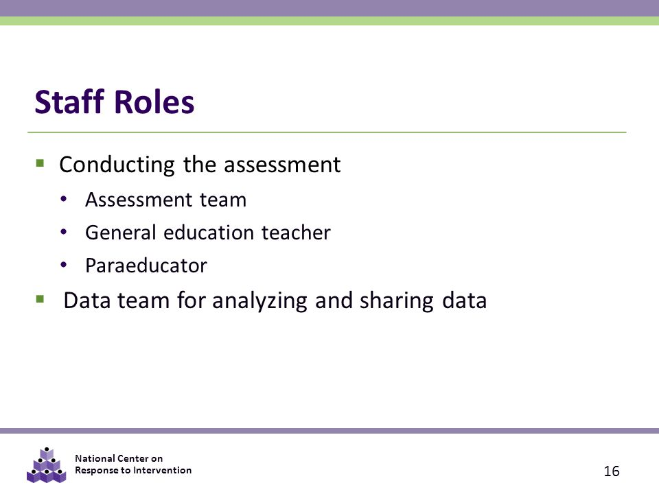 Staff Roles Conducting the assessment