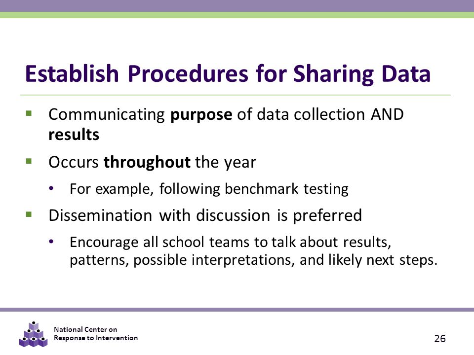 Establish Procedures for Sharing Data