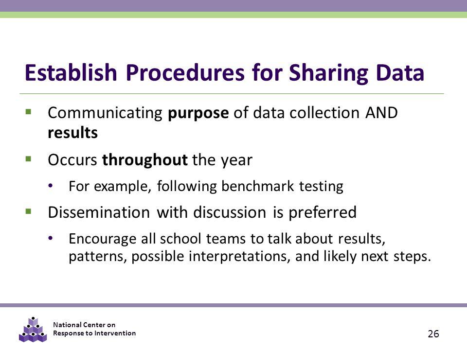 Establish Procedures for Sharing Data