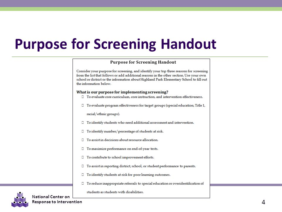 Purpose for Screening Handout