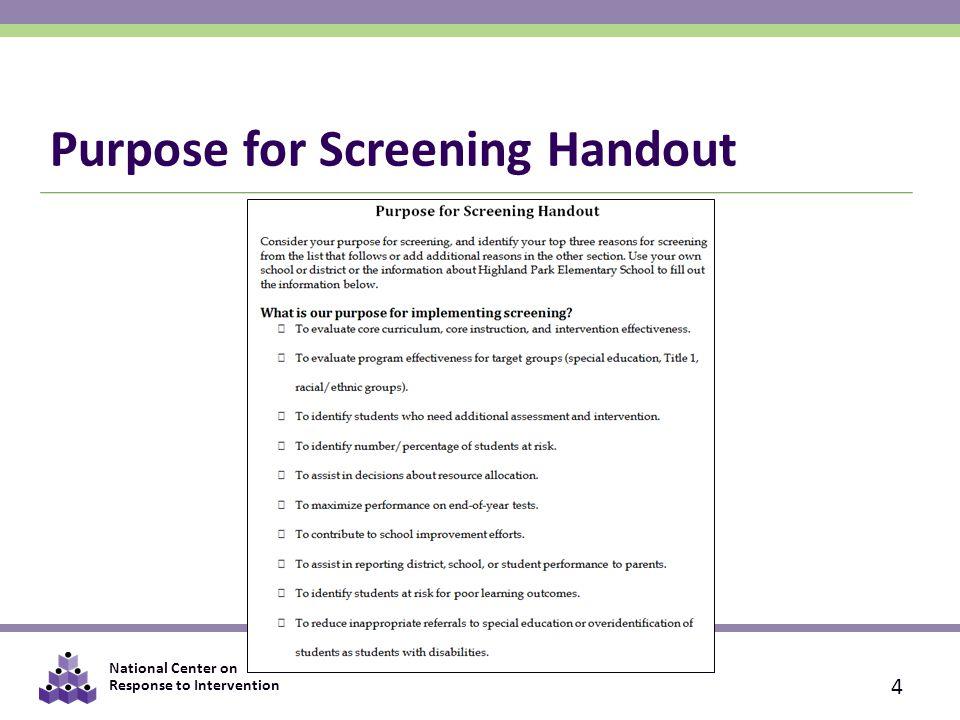 Purpose for Screening Handout