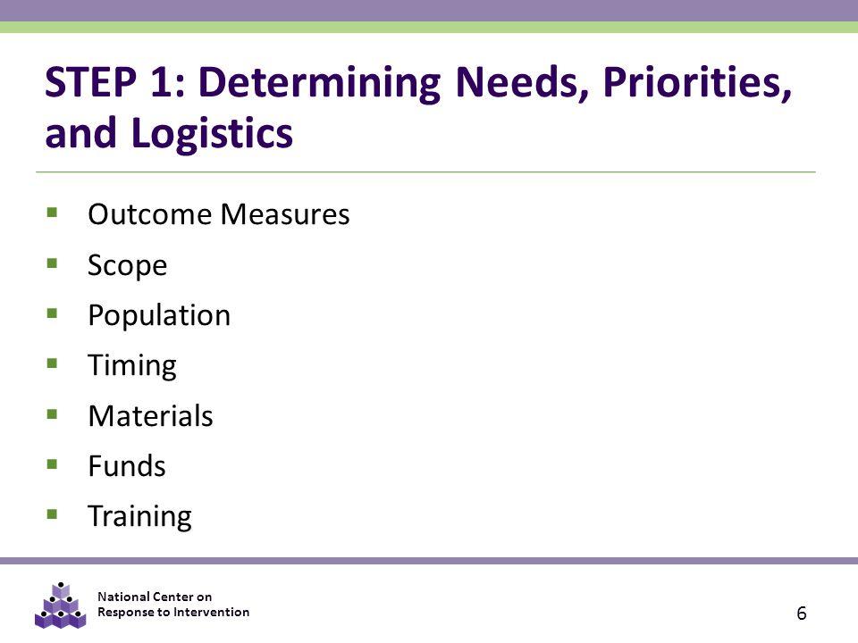 STEP 1: Determining Needs, Priorities, and Logistics