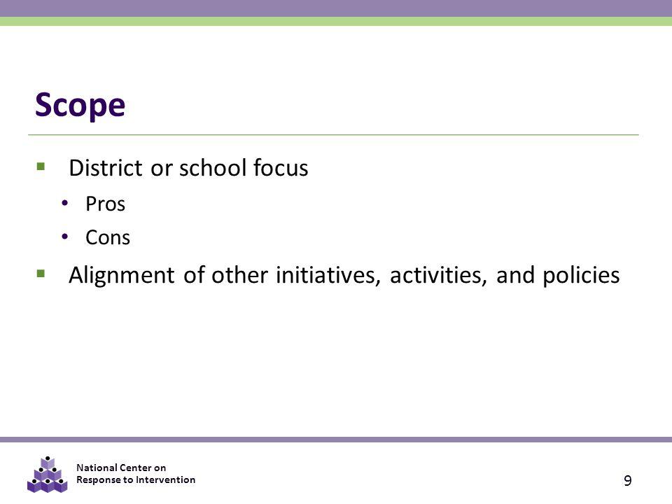 Scope District or school focus