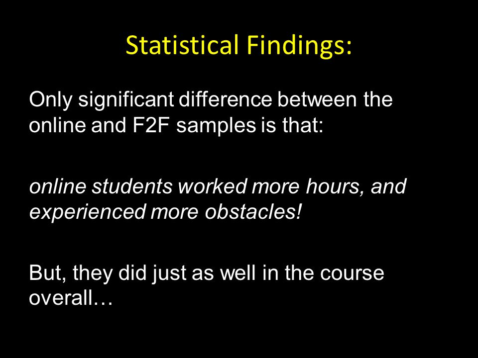 Statistical Findings: