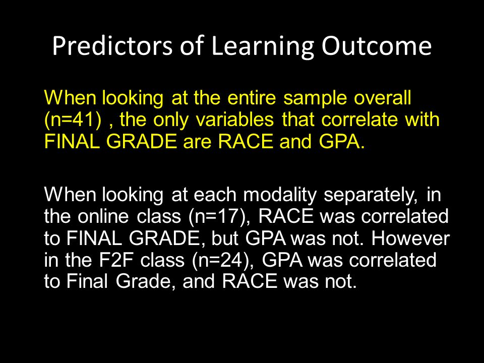 Predictors of Learning Outcome